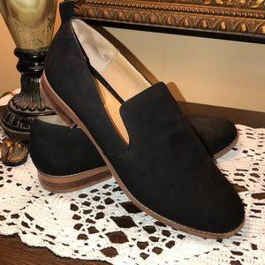 Franco Sarto Black Suede Slip On Shoes